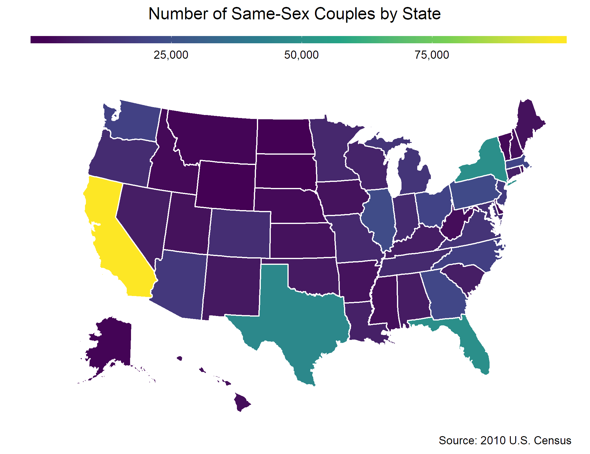 Figure 5. Distribution of same-sex couples across the United States.